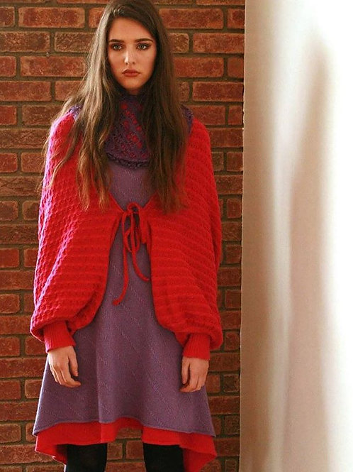 Draped patterned squares cardigan in two colours, over sized sleeves with fitted rib cuffs