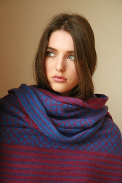 SCF12 Oversized Pattern Striped Scarf by Linda Wilson Knitwer