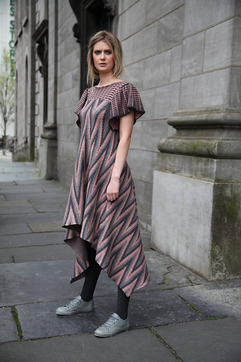 Large Herringbone Patterned Dress
