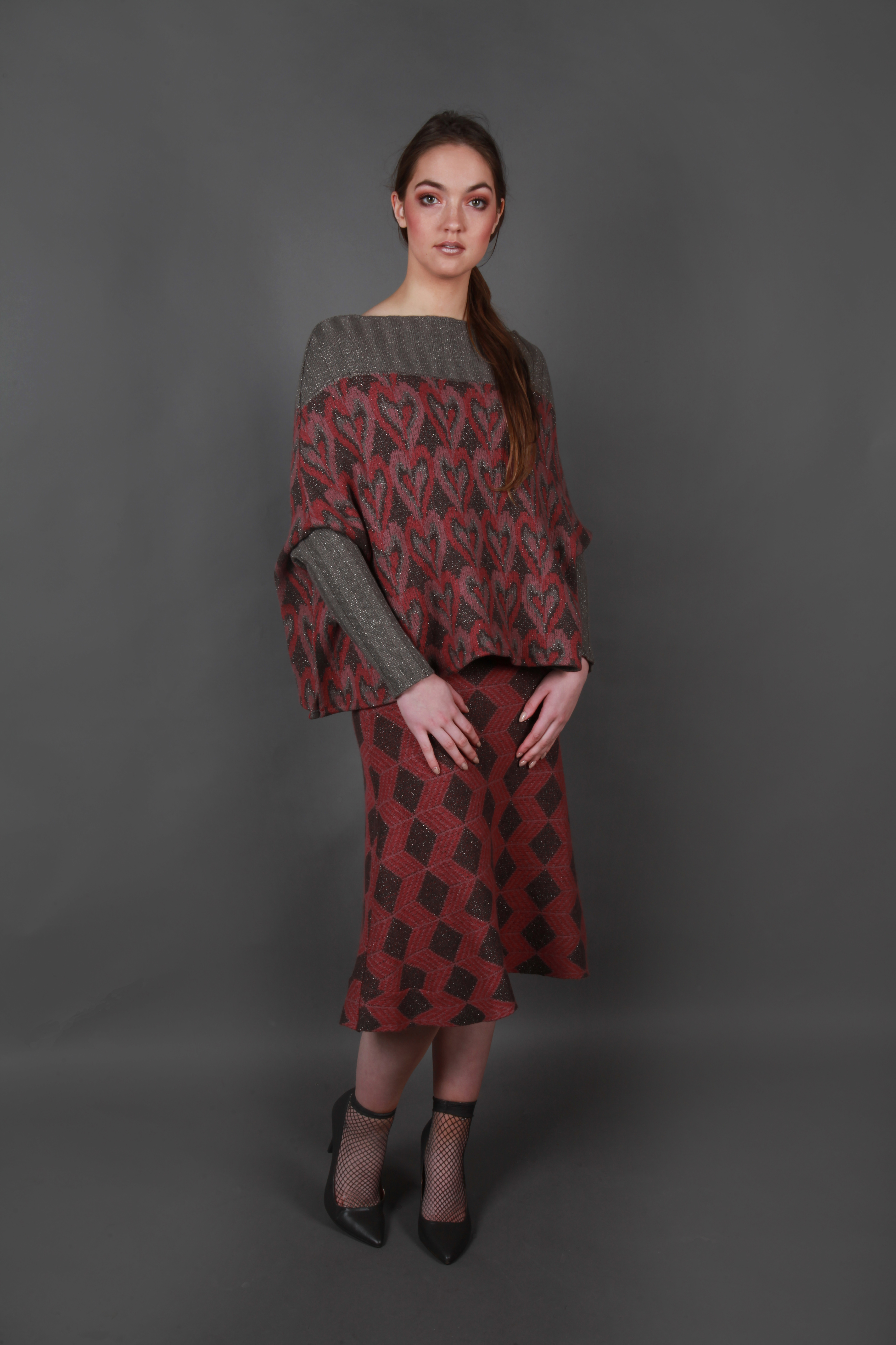 Cubed pattern A-Line skirt