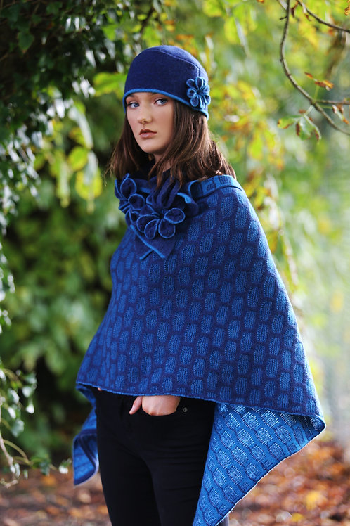 Draped Poncho in a textured box stitch pattern with flower Broach