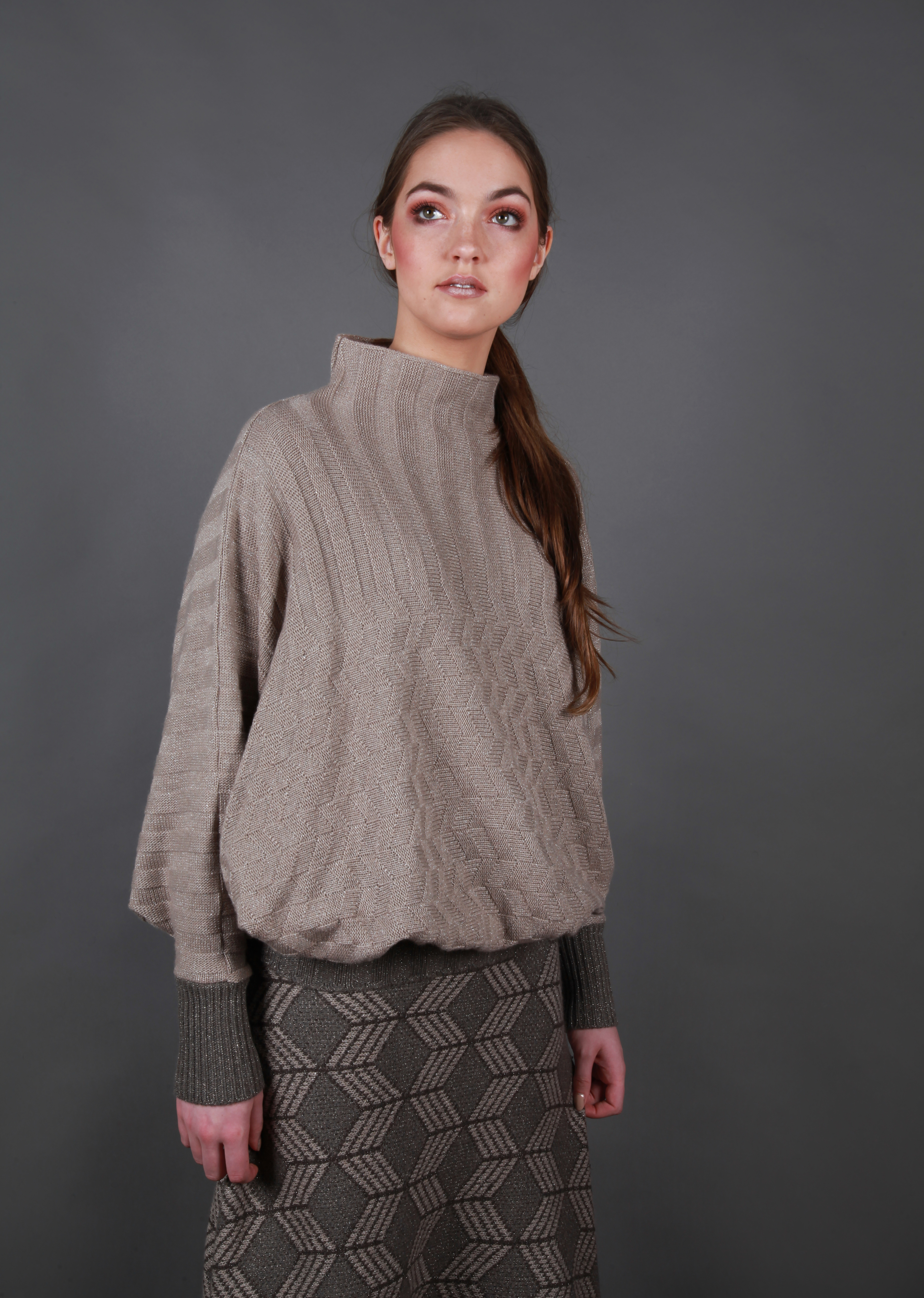 Moss Ribbed Jumper with Bat Wing Sleeves