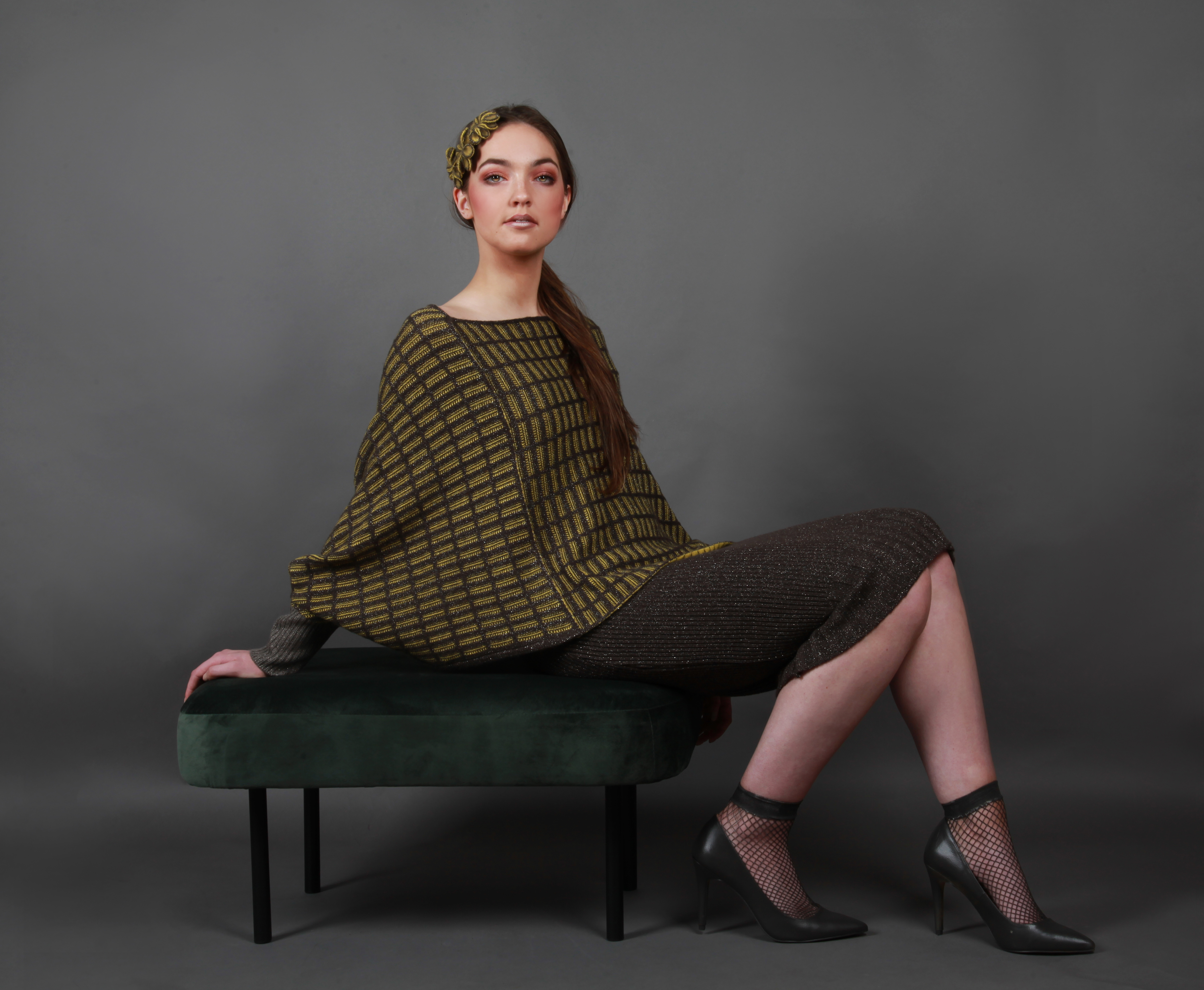 Small textured patterned poncho style jumper