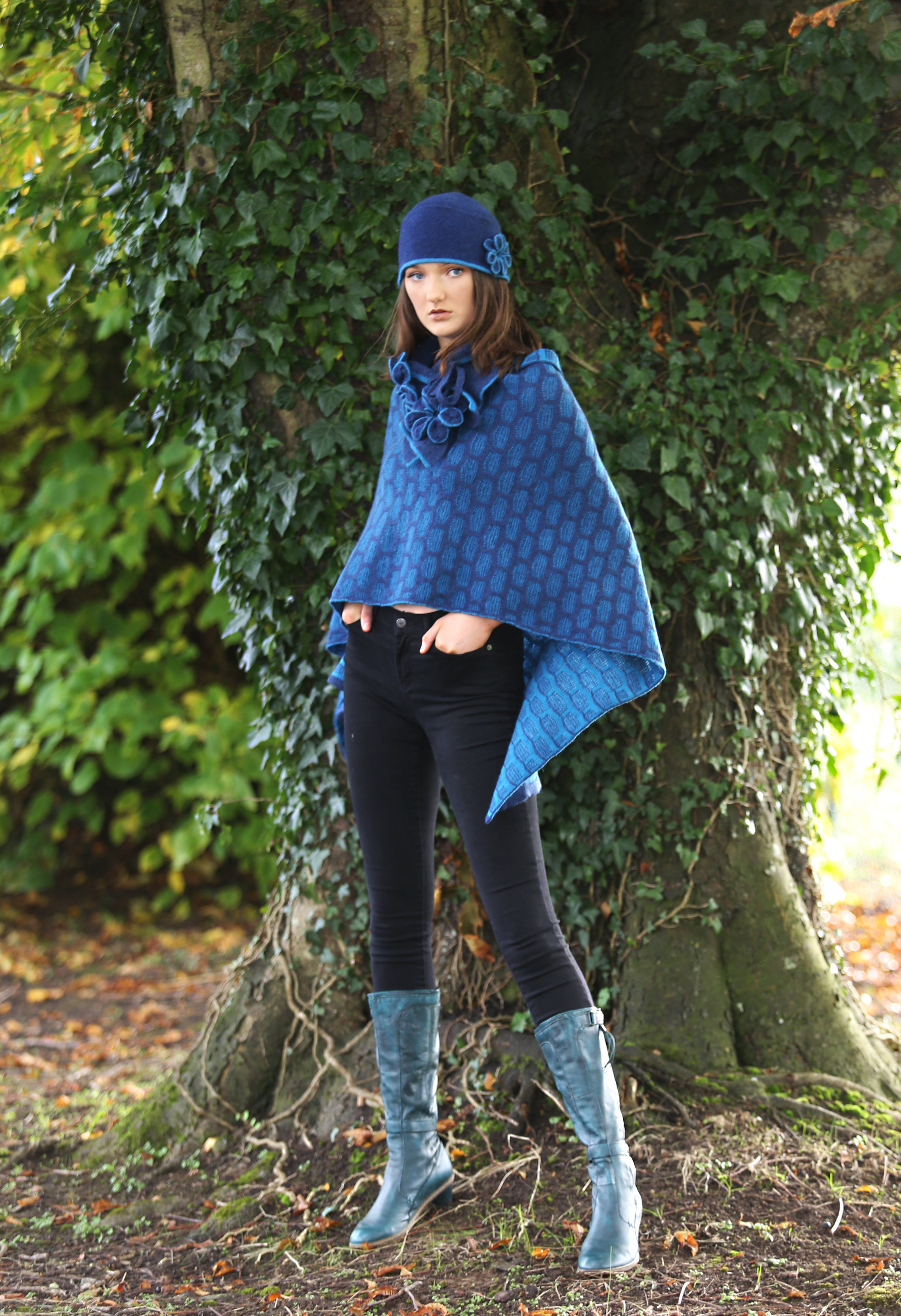 Draped Textured Poncho with Blossom Flower Broach