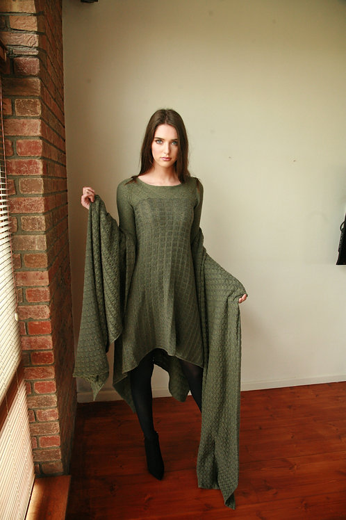 Draped Squares Pattern Dress