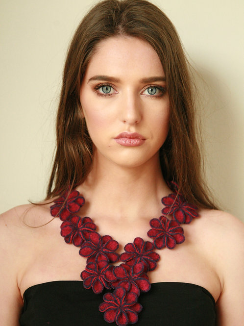 Hand crafted multi blossom neck piece in a cashmere/wool mix with nickel free magnetic fastener