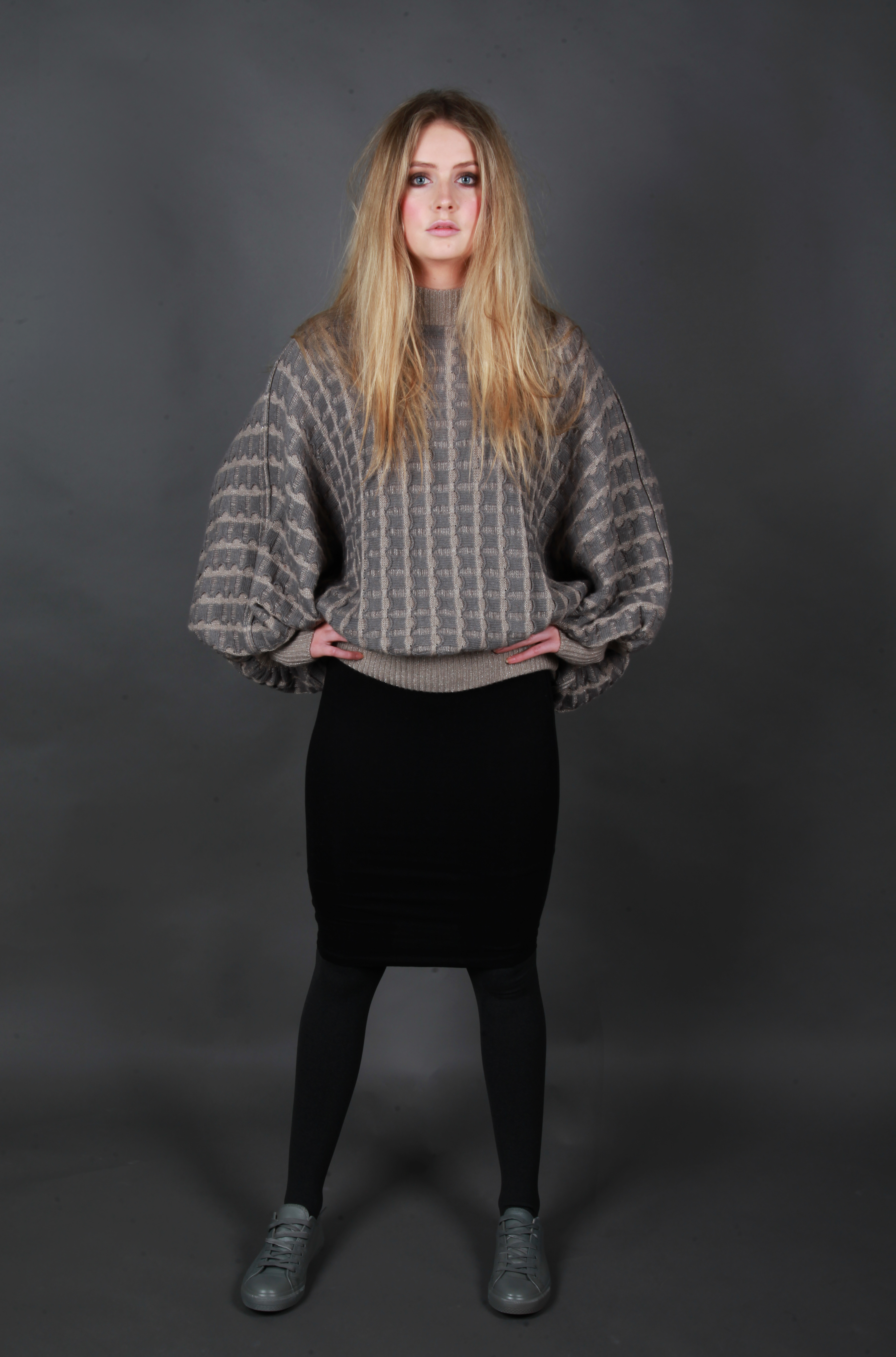 Pocket Poncho Style Jumper with Cuffs and Hem