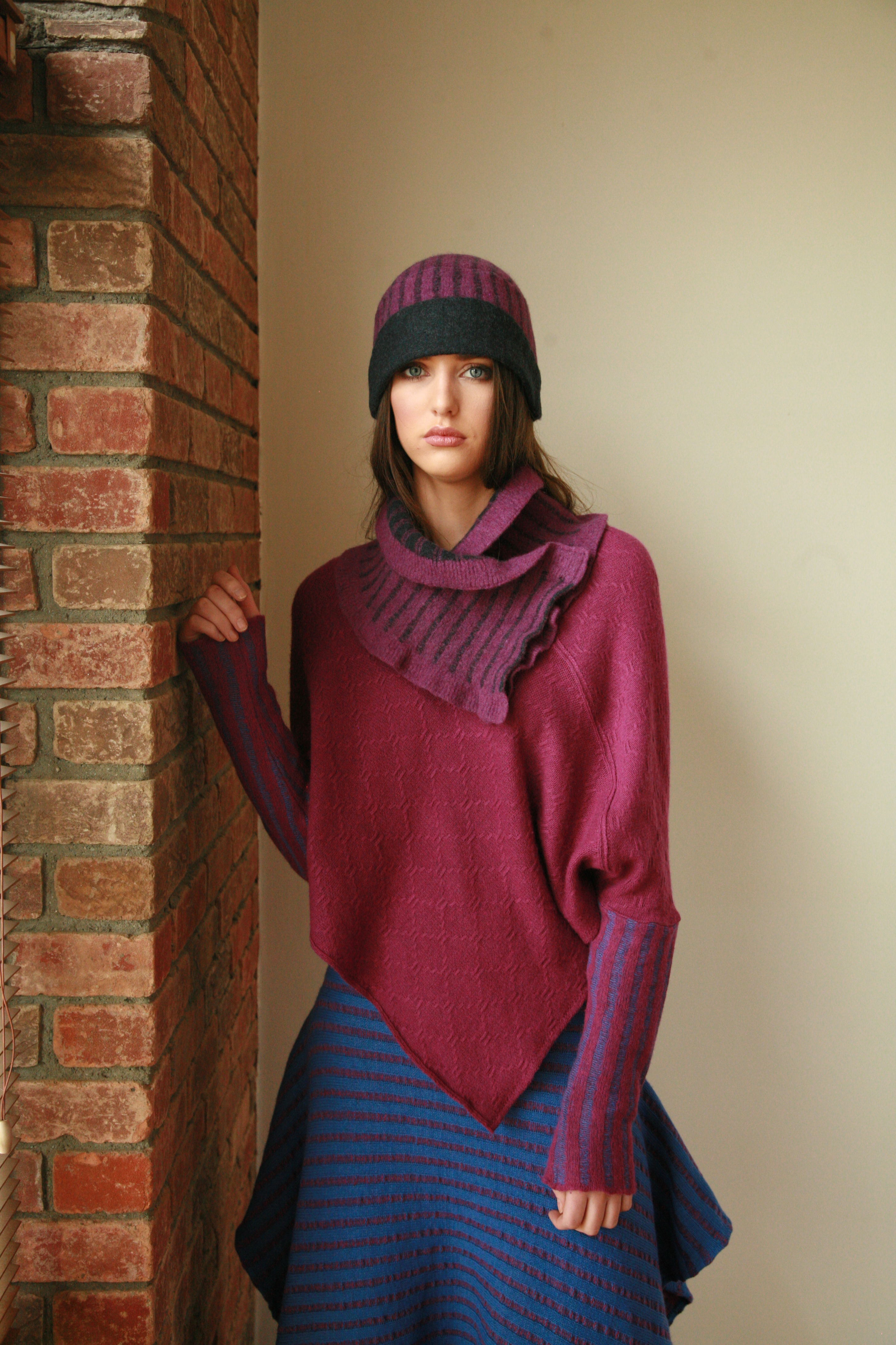 Vertical Stripped Hat and Large Vertical Stripped scarf