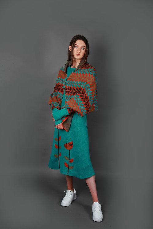 Leaf Patterned Poncho Style Draped Cardi