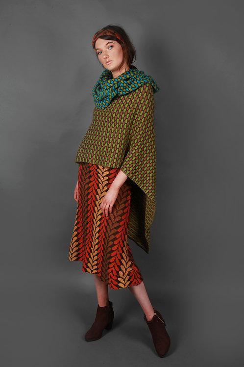 Leaf Patterned A-Line Skirt (4 Colour)
