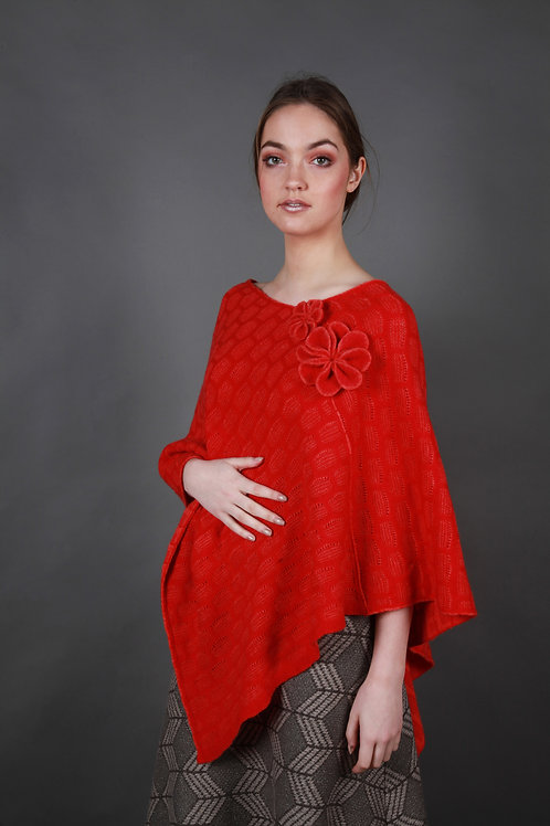 Angled Textured Poncho with Flower Detail