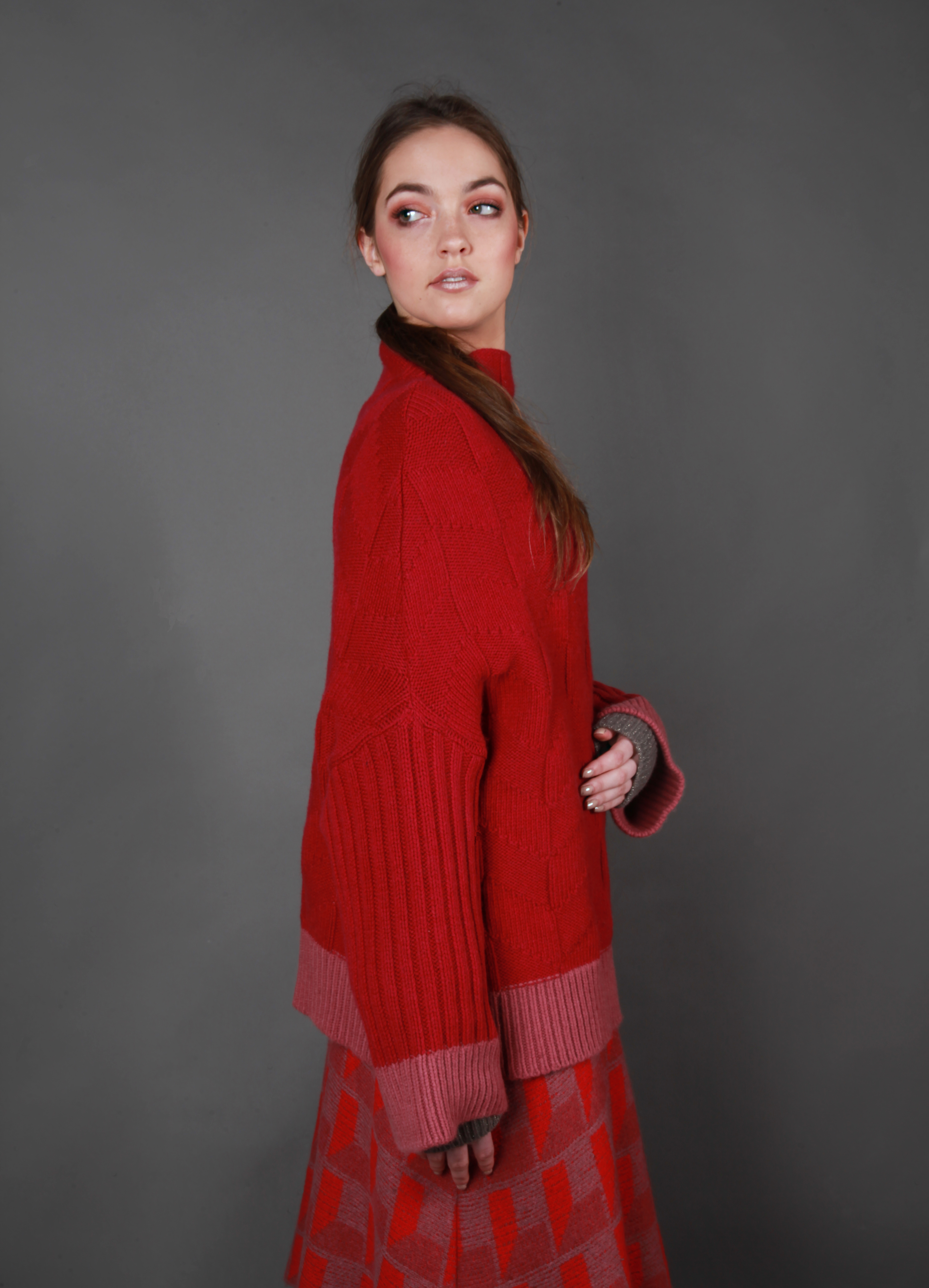 Chunky dropped sleeve textured jumper