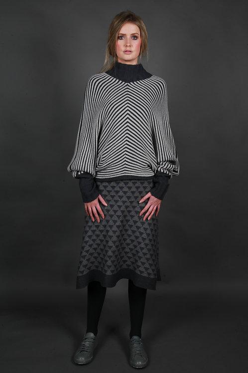 Diamond Patterned A-Line Skirt