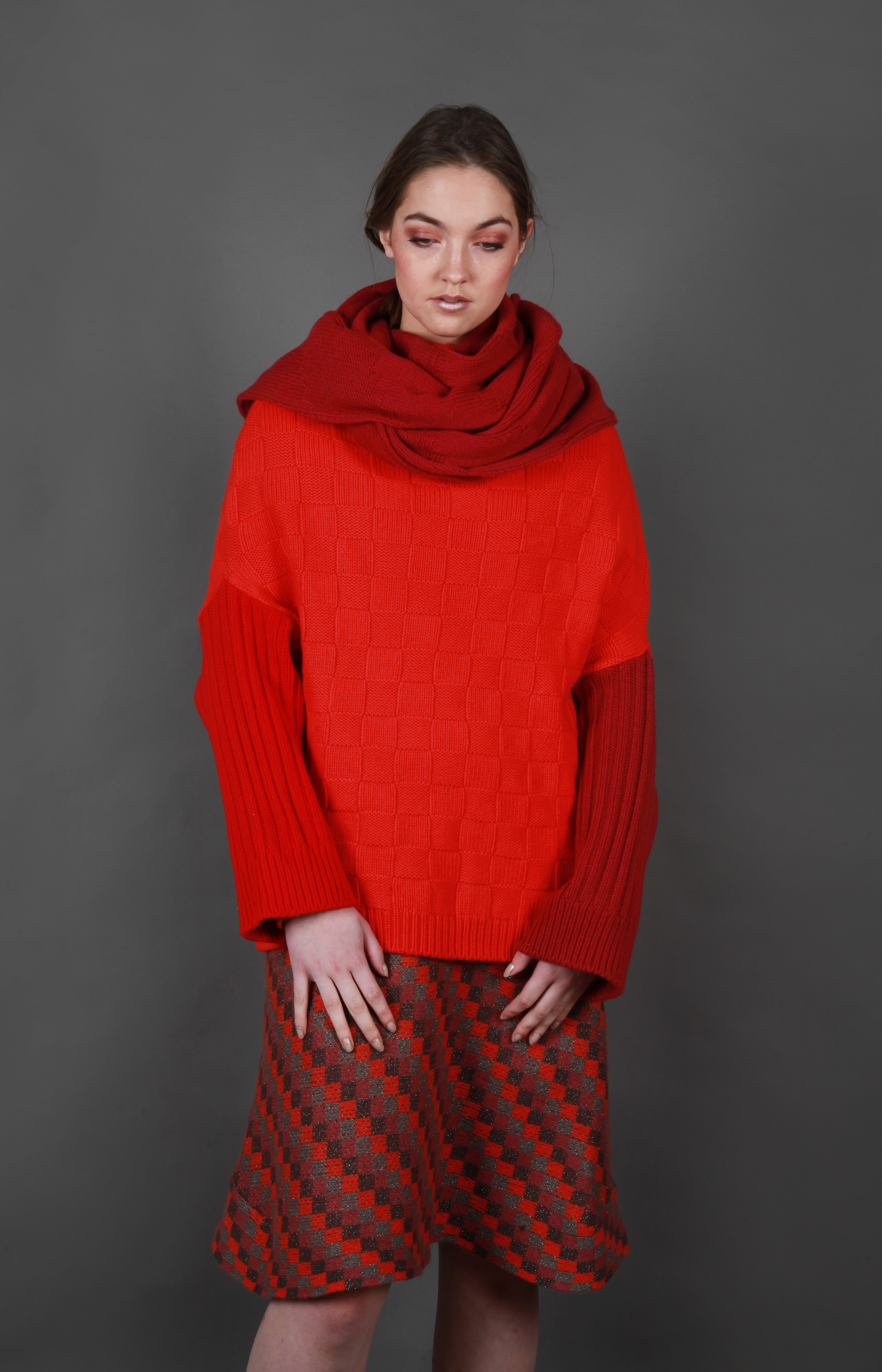 Chunky chequered texture jumper