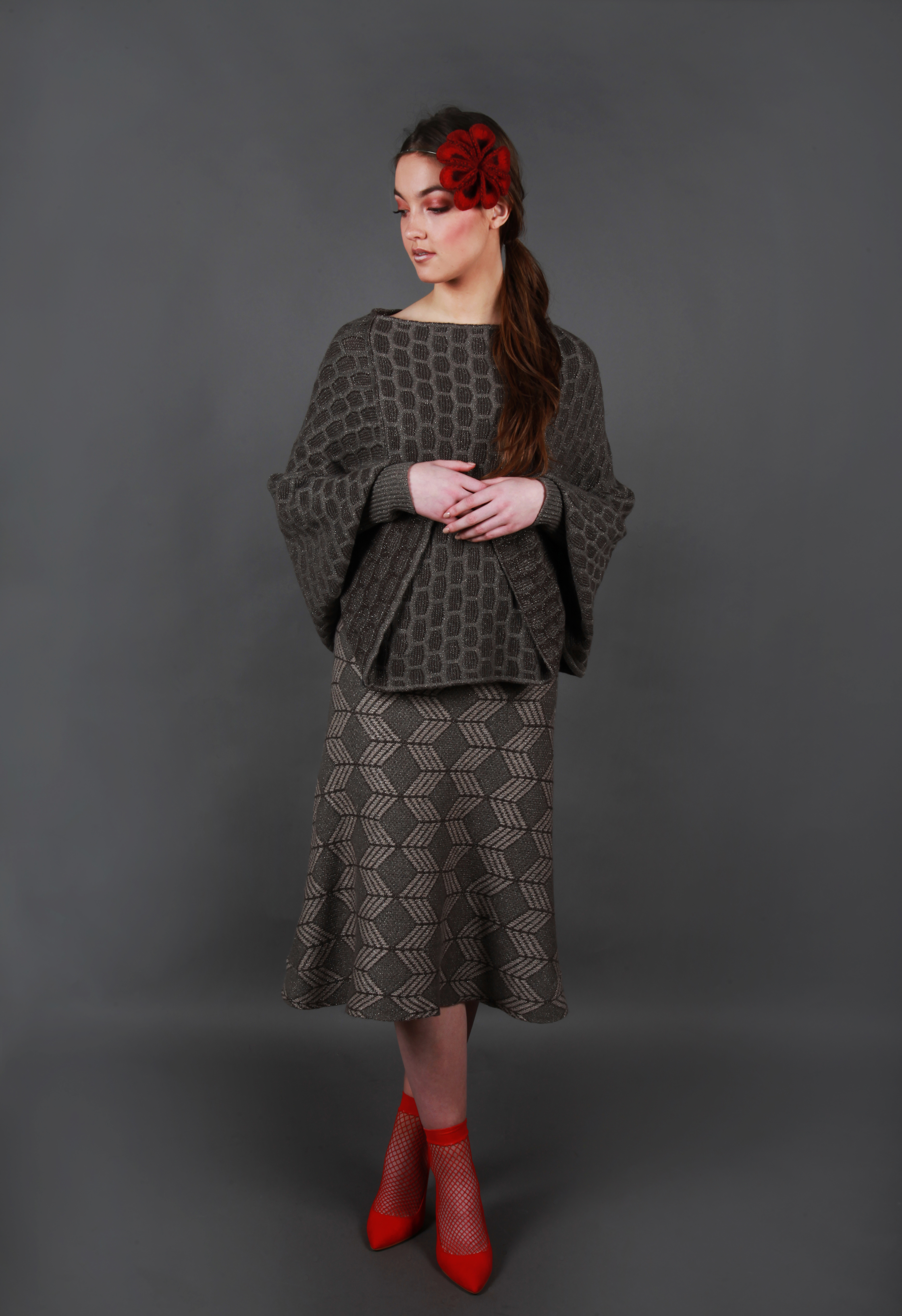 Large textured patterned poncho style jumper