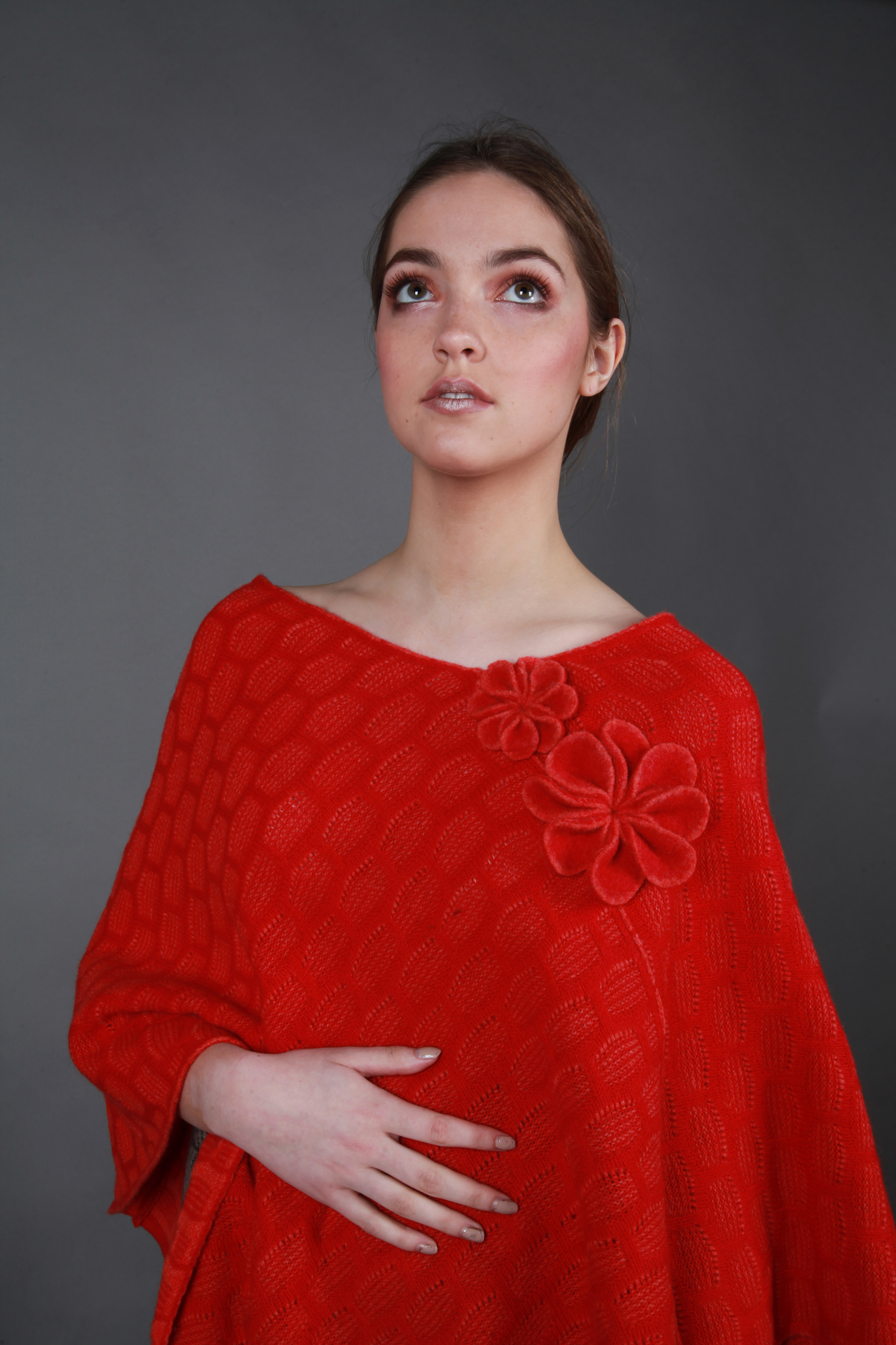 Angular 2 Colour Poncho with Flower Detail