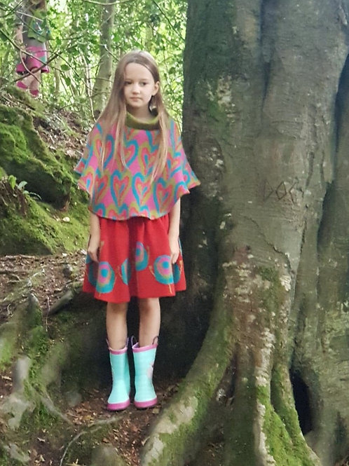 Patterned Heart Poncho