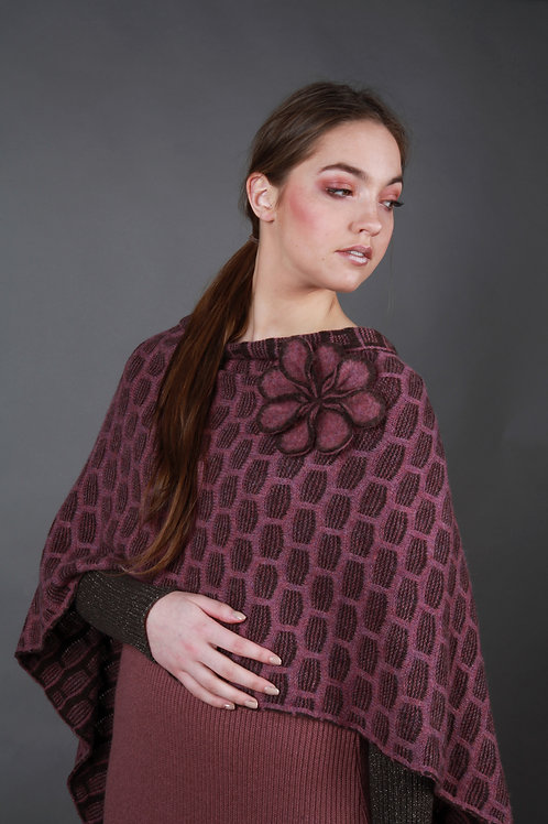 Draped Textured Poncho