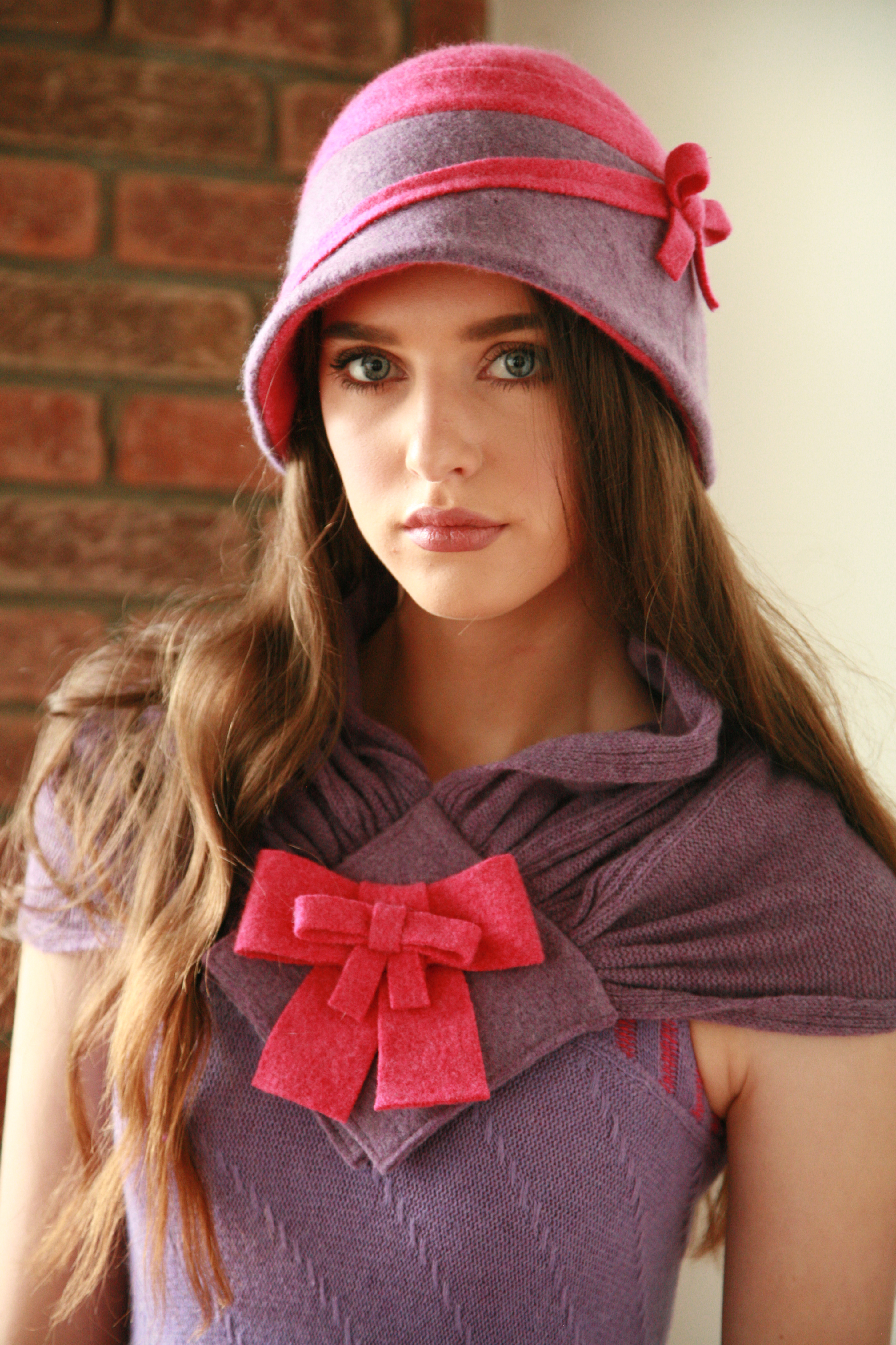 Cloche Bow Hat and Double Bow Scarf