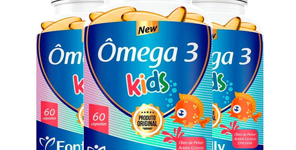 Ômega 3 Kids – Óleo de peixe, ácidos graxos, EPA/DHA – 60 cápsulas
