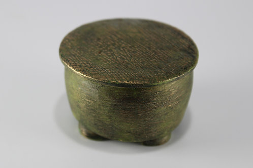 Bronze jar with textured lid, green patina. One of a kind.