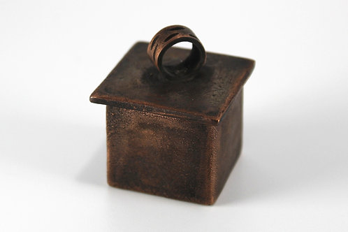 Small copper box with lid and carved ring. One of a kind.