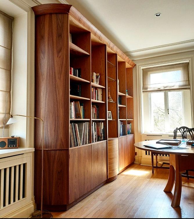 Large bespoke bookcase in walnut and oak
