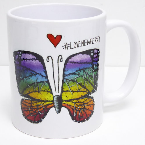 #LoveNewFerry 11oz Ceramic Mug with Colourful Butterfly