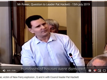 Chris Power, victim of New Ferry explosion, Q & A with Council leader Pat Hackett