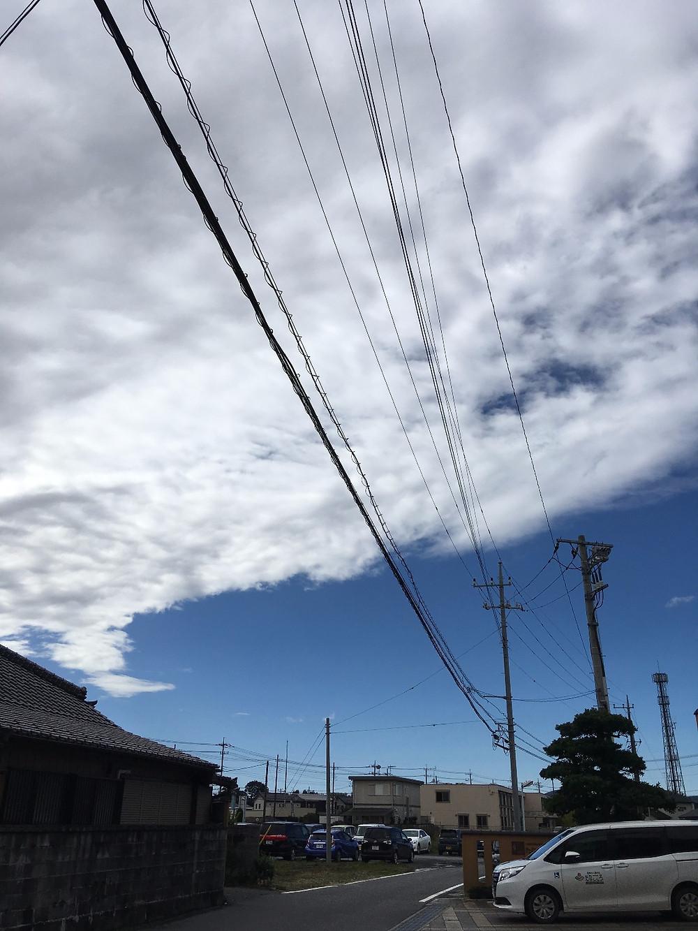 石岡山王台病院から台風の終わりの空