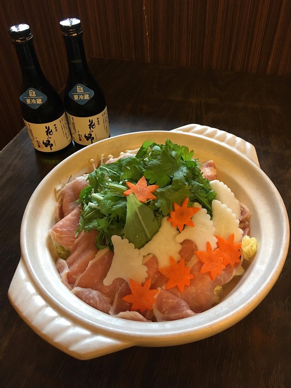 中津川宴会鍋とおすすめ生酒「花の郷」