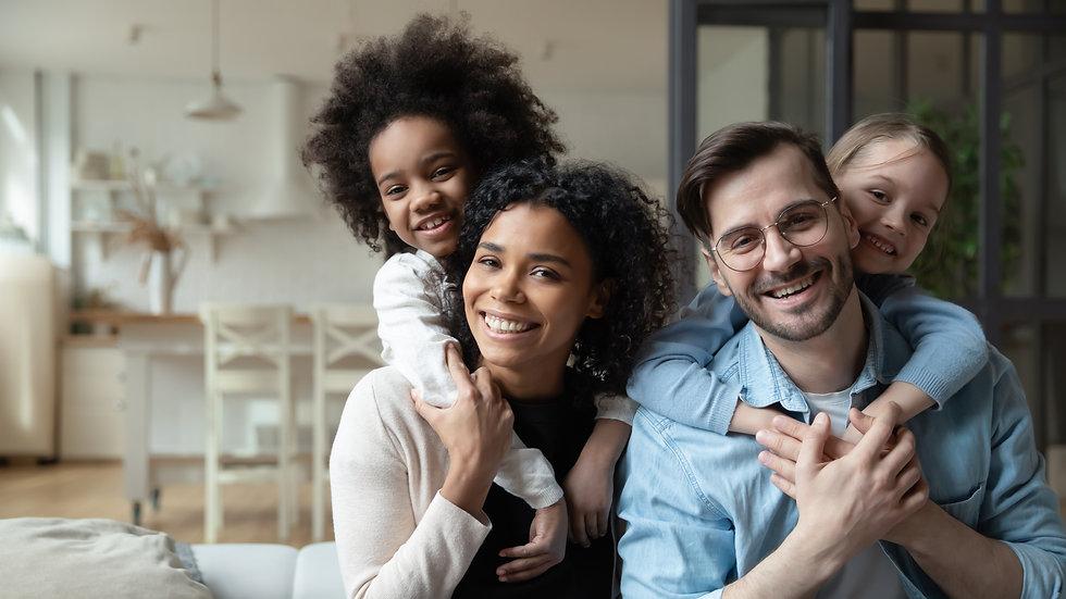 Portrait of happy multiracial couple enj
