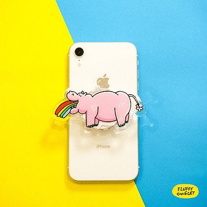 RAINBOW HIPPO MIRROR PHONE GRIP