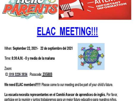 ELAC MEETING - 9/22/2021
