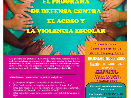EL PROGRAMA DE DEFENSA CONTRA EL ACOSO Y LA VIOLENCIA ESCOLAR - 4/9/2021