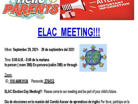 ELAC MEETING - 9/29/2021 @8:00AM