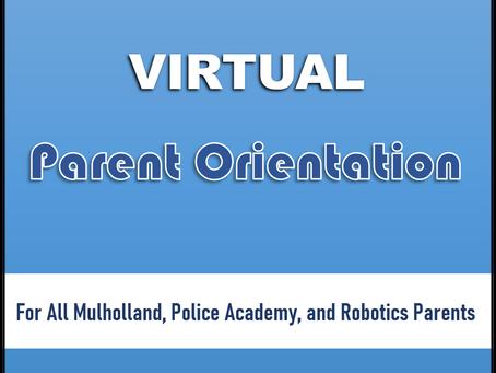 VIRTUAL PARENT ORIENTATION | ALL SCHOOLS | 8/12/2021