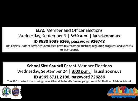 ELAC & SSC MEETINGS