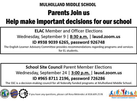 ELAC & SSC MEETINGS
