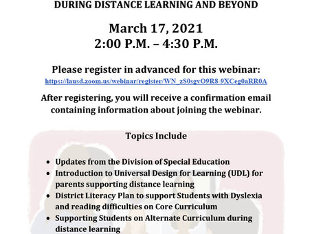 SUPPORTING YOUR CHILD WITH DISABILITIES DURING DISTANCE LEARNING AND BEYOND