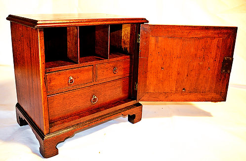 Late 18th Century Table Top Cupboard with Drawers, Alcoves & Key