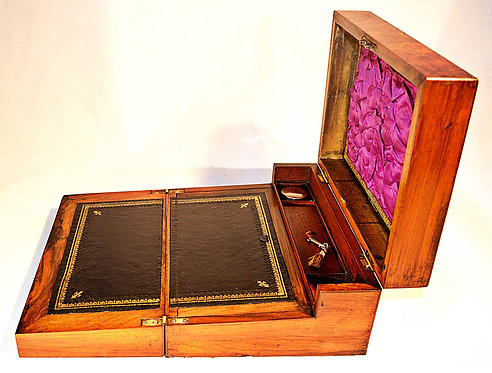 A Victorian Burr Walnut Writing Slope with Inkwell and Key, circa 1870