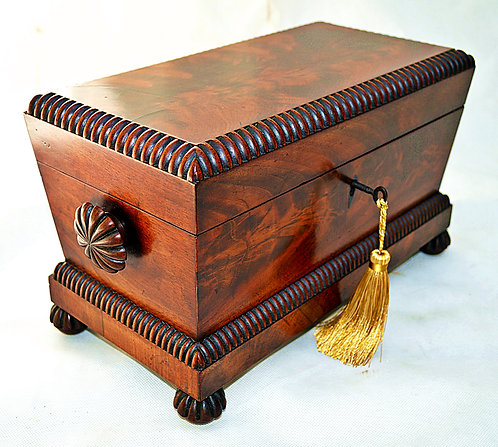 William IV Tea Caddy with Mixing Bowl and Key, circa 1835