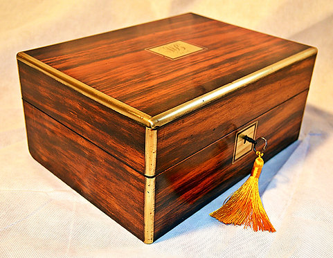 Mid 19th Century Gentleman's fitted Vanity Box with Brass banding and Key, 1856