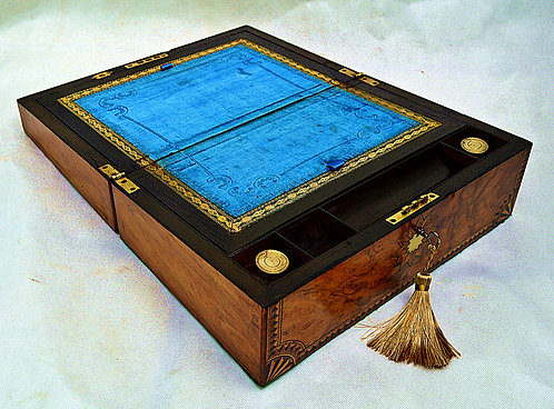 Victorian Figured Walnut and Marquetry Writing Slope + Inkwells & Key,circa 1880