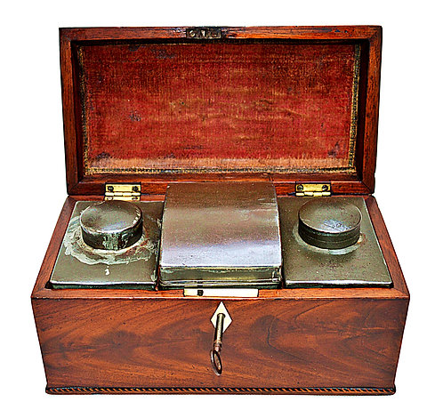 18th Century Tea Caddy with Pewter Canisters & Key, circa 1780