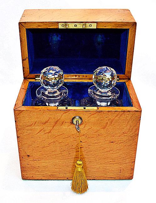 Victorian Light Oak Decanter Box containing 2 Decanters & Bramah Lock & Key