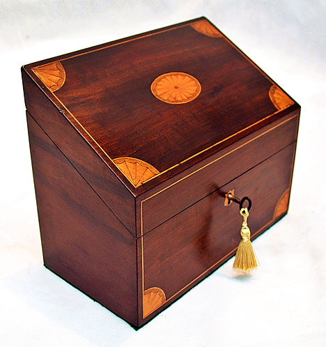 Victorian Stationery Box with Inlaid Shell Motif Decoration & Key. circa 1870