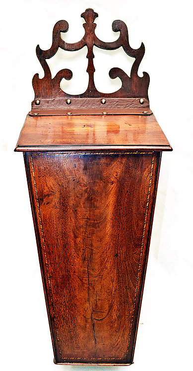 Late 18th Century Candle Box with inlaid Marquetry banding and Fretwork back