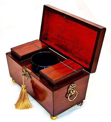 Regency Tea Caddy of Sarcophagus form, with Bristol Blue Mixing Bowl & Key